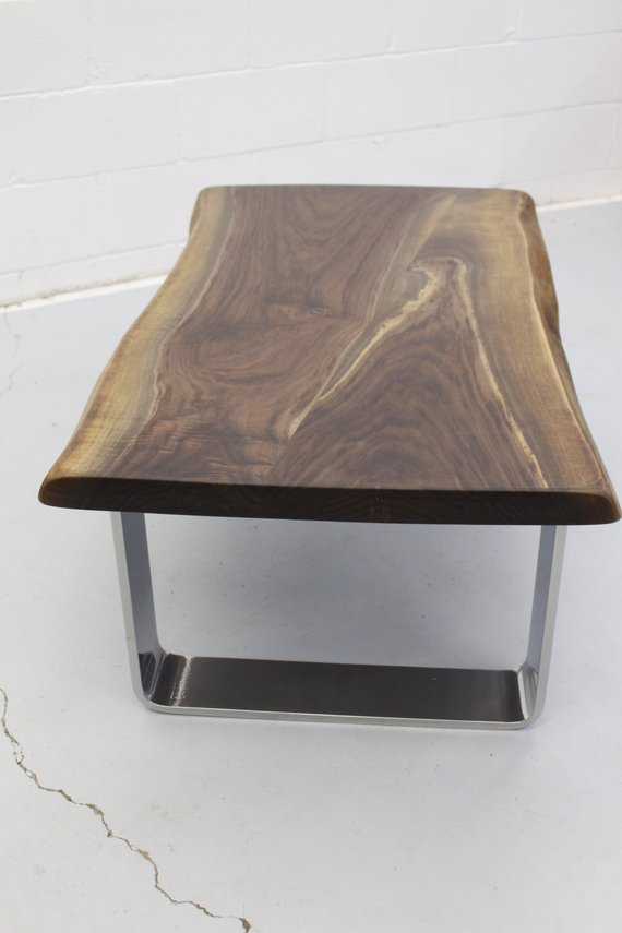 Cool Live Edge Black Walnut Coffee Table With Chrome Legs Download Free Architecture Designs Sospemadebymaigaardcom