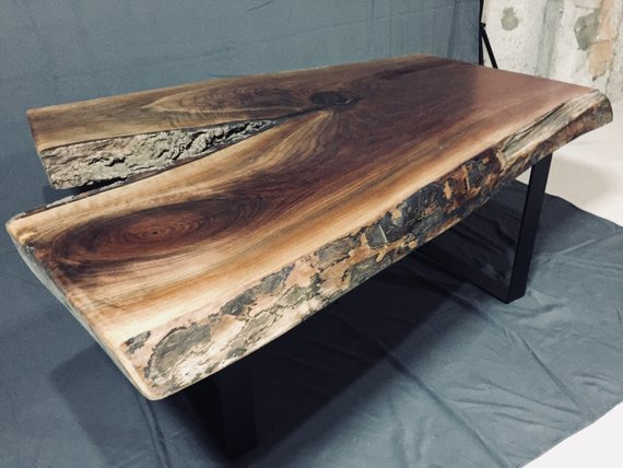 Black Walnut Live Edge Coffee Table – Reclaimed