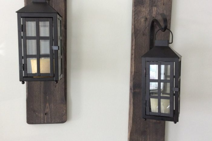 Decorative, rustic, reclaimed wood hanging lanterns