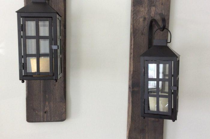 Decorative, rustic, reclaimed wood hanging lanterns