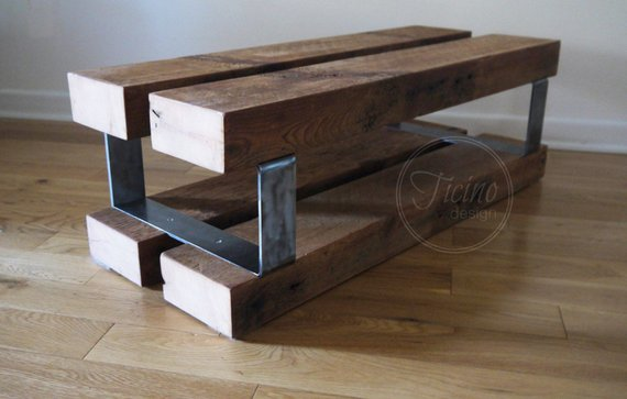 Entryway Bench Reclaimed Wood and Metal