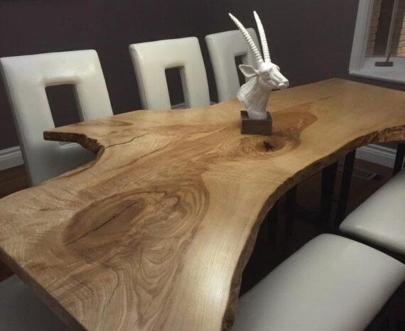 Live Edge Single Slab Table -Reclaimed Wood