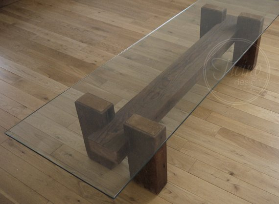 Rustic Reclaimed Wood Coffee Table Glass Top