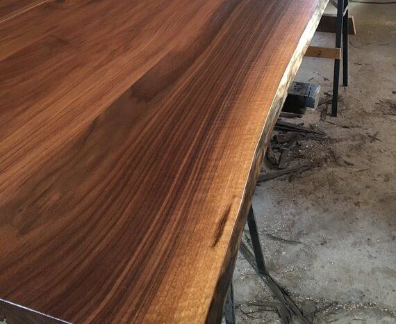 Walnut or Ash Live Edge Dining Table