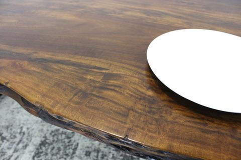 Live Edge Acacia Wood Table with Farmhouse Brushed Metal Legs Honey Walnut