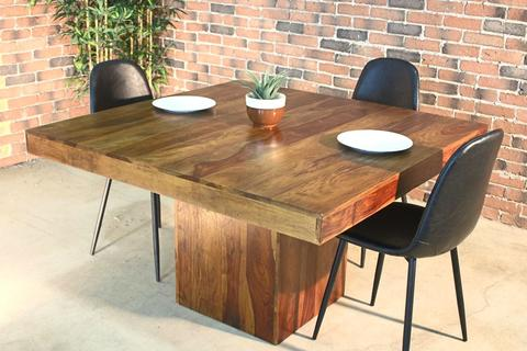 Square-Rosewood-Farmhouse-Table-Honey-Walnut-Finish Wood Furniture Canada