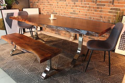 Acacia Live Edge Dining Table With Chrome Y Shaped Legs Honey Walnut