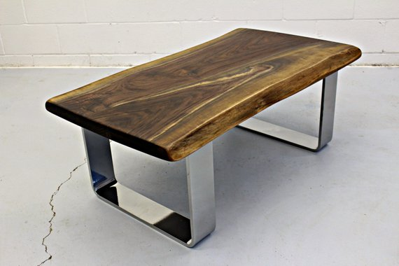 Premium Live Edge Black Walnut Coffee Table with Chrome Legs #Woodify