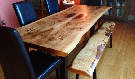 Live edge Ontario reclaimed wood dining table - Woodify