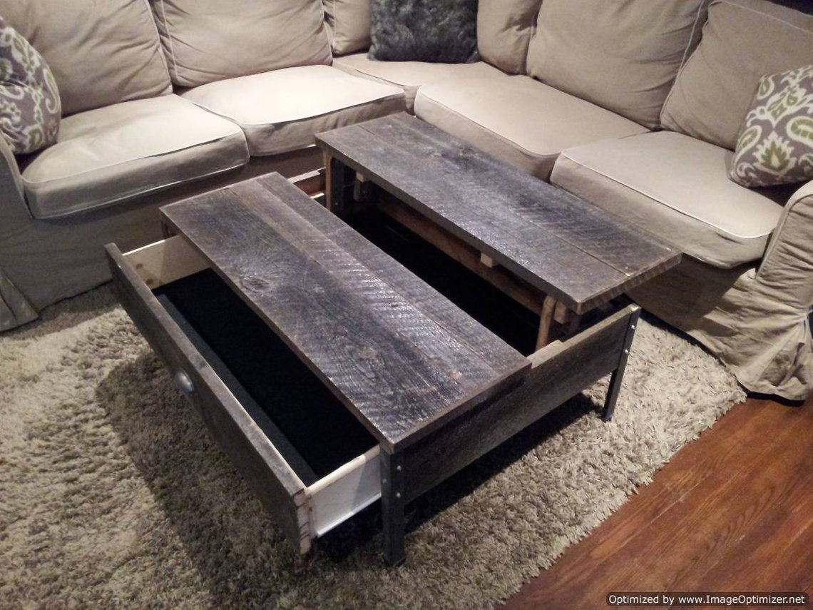 Old-Barn-Wood-Pop-up-Coffee-Table-with-Clear-Coat-1-Wood Furniture