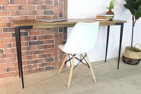 Solid Mango Wood Console Table With Industrial Metal Legs