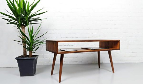 Mid Century Modern Retro Coffee Table | Mid Century Table on Solid Oak Legs