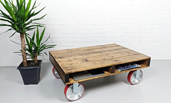 Pallet Coffee Table, Rustic Coffee Table, Industrial Coffee Table on large Caster wheels