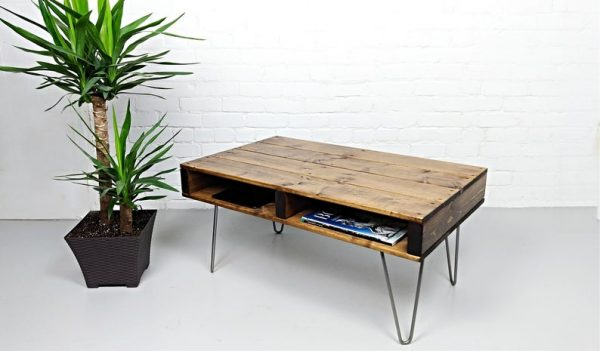 Pallet Coffee Table, finished in Walnut with 12″ Industrial Hairpin Legs | Modern Rustic Reclaimed Furniture