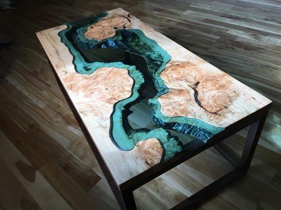 Big Leaf Epoxy Custom Coffee Table Powered By Woodify