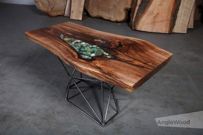Walnut Live Edge Table with an Epoxy Shell