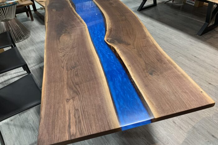 ON SALE – 8.5ft Live Edge Walnut Epoxy River Table Blue